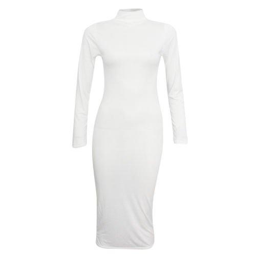 Fashion 4 moins Funky Boutique Haut à manches longues Col roulé Robe Midi Uni Jaune - Crème