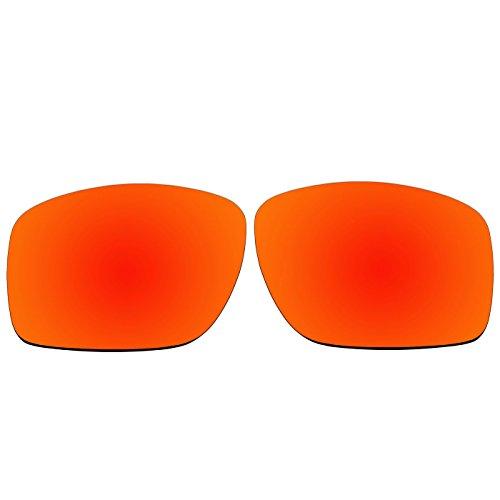Acompatible OO9173 Ersatzgläser für Oakley Big Taco Sonnenbrille, Fire Red Mirror - Polarized, S
