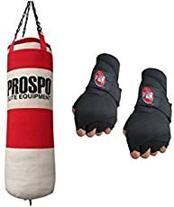 Prospo Super Strong And Hard Boxing Punching bag With Hand Wrap Gloves (Heavy Bag)color may vary