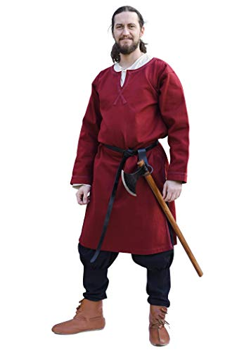 Battle-Merchant Mittelalter Tunika Albrecht mit Borte, langarm aus Baumwolle - Rot o. Blau - S - XXL - Wikinger LARP Kleidung Kostüm Hemd Herren (XL, Weinrot)