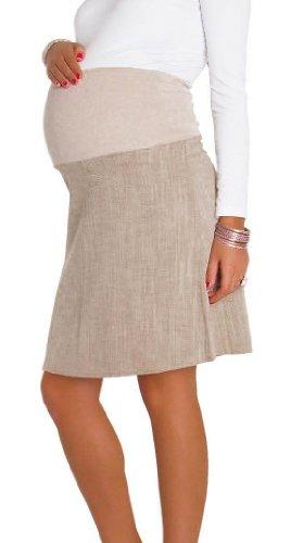 Happy Mama Intelligent Coton Overbump Maternité Grossesse Jupe 250 Beige