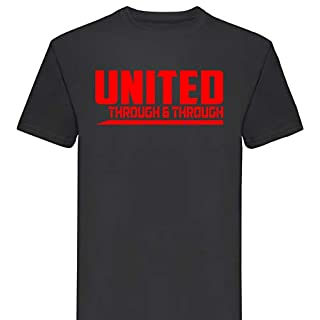 Manchester United Through and Through Premium T Shirt Gift Mens Football Club FC (Large) Black