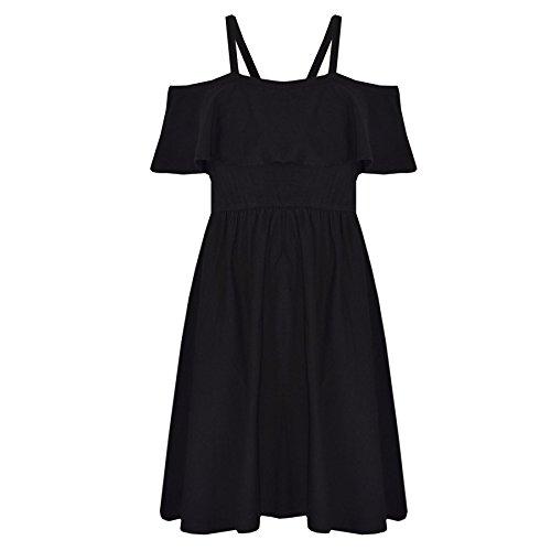 A2Z 4 Kinder Mädchen Skater Kleid Kinder Deigner's Einfach Mode Off Shoulder Kleid - Schwarz - 13 (Mädchen Einfach Kleid)