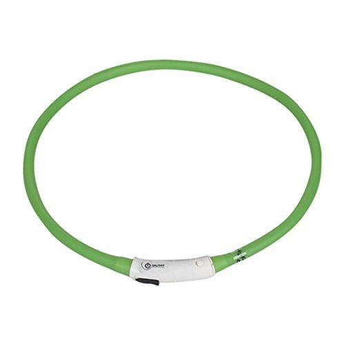 LED Leuchthalsband für Hunde SOMESUN Leuchtendes Halsbänder Wiederaufladbare USB wasserdichte LED Blinklicht Band Sicherheit Haustier Hundehalsband (70cm, Grün)
