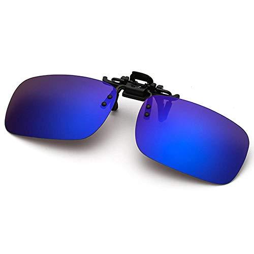Polarisierte randlose Gläser AOLVO Metall Flip up Clip on Sunglasses Leicht Gewichts Außen Fahren Angeln Sonnenbrillen für Männer und Frauen Unisex Brillenträger (Dunkelblau)