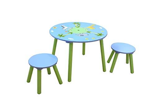 LibertyHouseToys Safari Tisch und Zwei Hocker-Set, Holz, Mehrfarbig - Safari Kids Tisch
