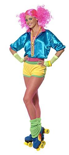 Skater-Girl Kostüm Neon mit Oberteil Shorts und Bustier, (Rollschuh Kostüm)