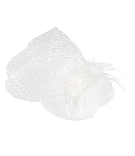 SIX 'Hochzeit' große Damen Haarspange, Fascinator in Weiß, verziert mit Tüll und Federn, zarter...