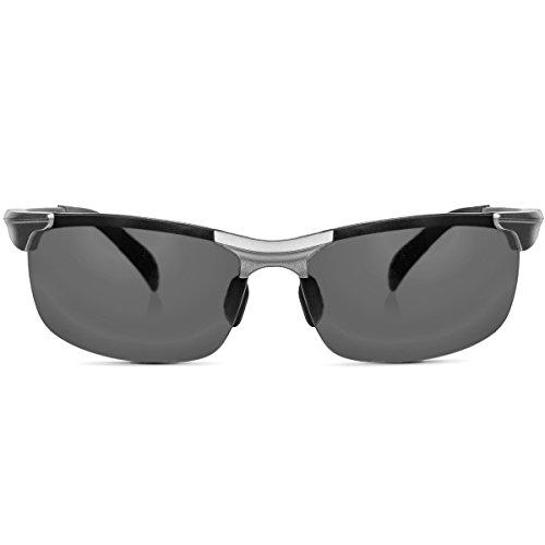 Polarisierte Sonnenbrille Herren Aluminium-Magnesium-Legierung inkl. Brillenetui Sportbrille Fahrerbrille im Racing Style, verspiegelt, in Silber Schwarz