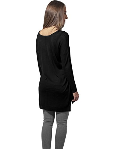 Urban Classics Ladies Fine Knit Oversize V-Neck Sweater Sweat-shirt Femme noir Noir (noir 7)