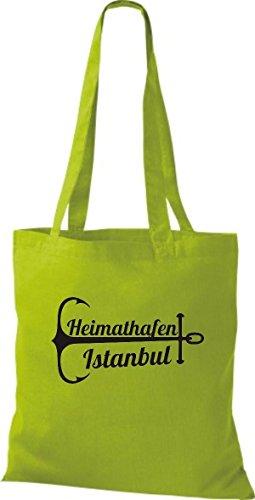 ShirtInStyle Stoffbeutel Baumwolltasche Heimathafen Istanbul kiwi