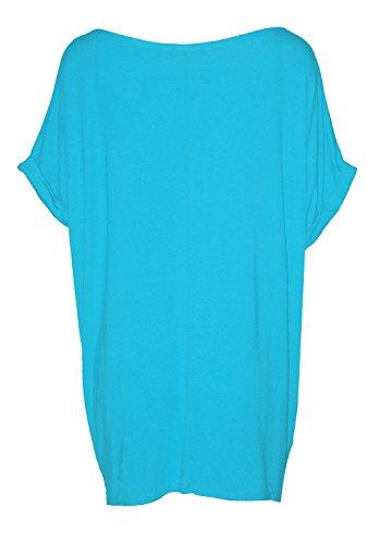 Fast Fashion - Top Batwing V Plaine Cou Bouffant T-Shirt Oversize - Femmes Turquoise