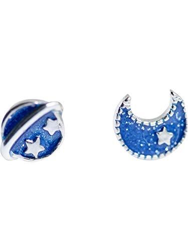 JJLEZl Blauer Planet Mond 925 Sterling Silber Ohrstecker Weibliches Ohr Höhle Mini Kleine Frische Studentin Einfaches Mädchen Herz