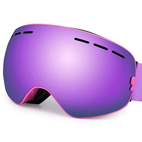 OLLVU Skibrillen for Unisex Sport-Sonnenbrille Anti-Fog-Dual-Layer-Objektiv Anti UV Sphärische Können Gläser for Snowboard Im Freien Setzen (Farbe : Lila)