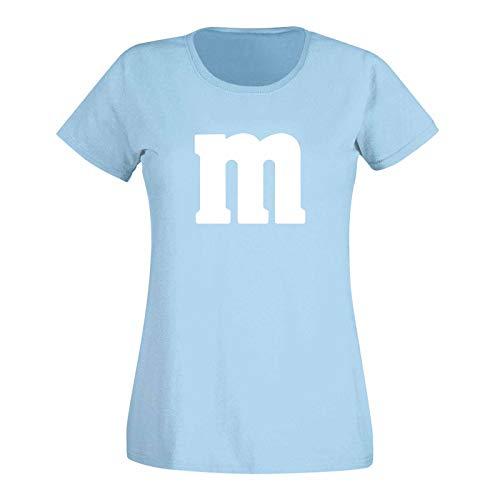 T-Shirt M&M Schoko-Linse Gruppenkostüm Karneval Fasching 14 Farben Damen XS-3XL M's Fans Ms Krümelmonster Darts Tanzgruppe Mottoparty, Größe:XS, Farbe:hellblau/Sky - Logo Weiss