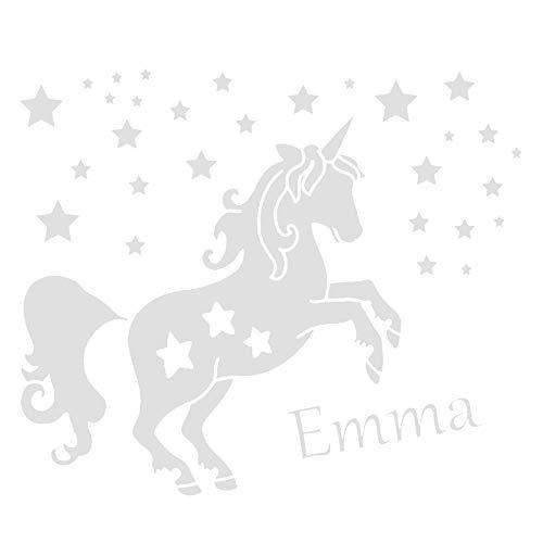 Wandtattoo Einhorn mit Wunschnamen und Sternen - Made in Germany - in verschiedene Farben und Größen - Kinderzimmer Mädchenzimmer Babyzimmer...