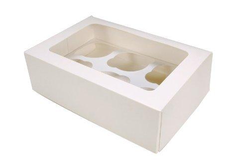 10x Cupcake- / Muffinboxen, Weiß, für 6 Stück