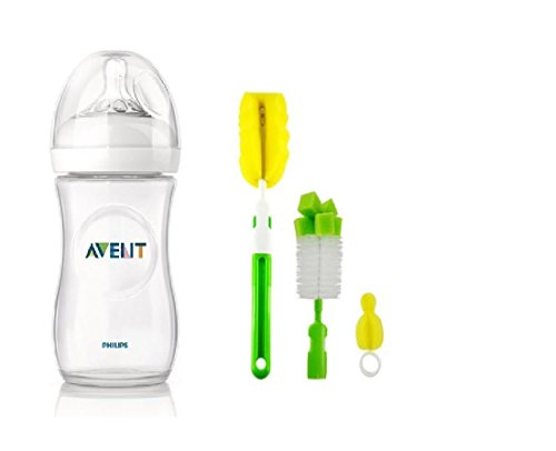 Philips Avent Natural Feeding Bottle (Clear) With Bottle And Teat Brush (330ml)