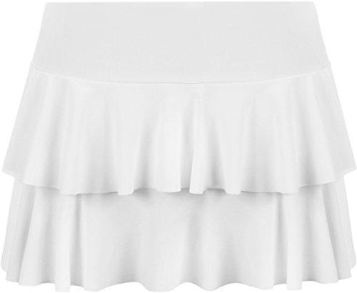 Jersey Rüschen Rock (WearAll - Damen Rara Mini Rock Kurz Skirt - Weiß - 40-42)