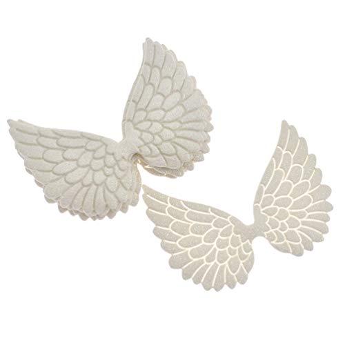 Inselfeld 10 Stück Engelsflügel Glitzer Weiß aus Kunstleder 8 x 6.3 cm für Kleidung Hut Nähen DIY Handwerk Dekoration MEHRWEG