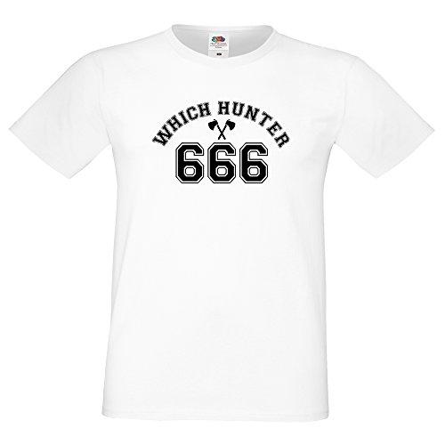 """COOLEARTIKEL Halloween Fasching Funshirt mit Brustmotiv """"which hunter 666"""" und Rückenlogo, Party und Spaß T-Shirt als Accessoire für dein Horror Outfit (Kostüm Vampire Hunter Zubehör)"""