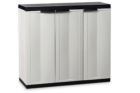 DEA Home ART209 Trend Line S Armoire Basse avec 3 Portes Polypropylène Gris/Noir 97 x 37 x 85 cm