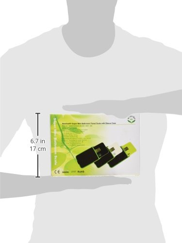 NewlineNY Step-on Super Mini Smallest Travel Bathroom Scale with Protection Sleeve: SBB0638SM-BK (Black) + NY-SMS-S001-BG by NewlineNY