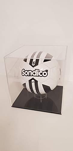 Plasticraft Fußball-Vitrine aus Acryl/Plexiglas, aufrecht mit schwarzem Fuß -