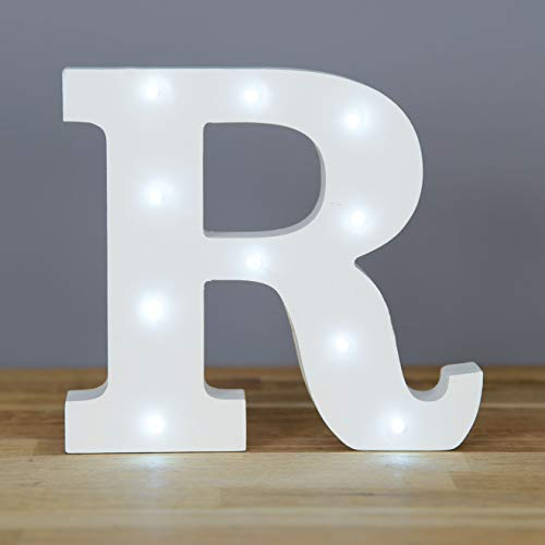 Up in Lights Muestra decorativa de madera blanca de las letras del LED - colgante de pared con pilas - Letra R