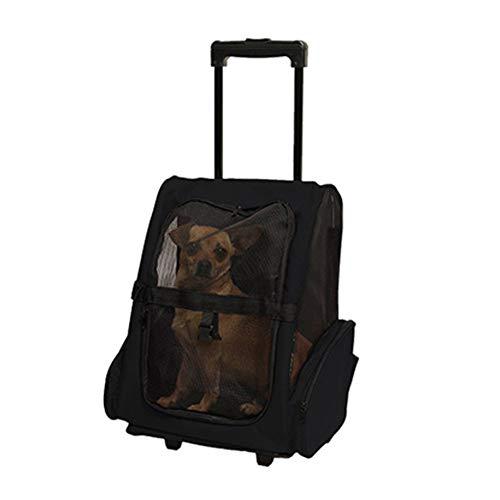 Breathable Pet Trolley Shoulder Bag Teddy Trolley Case Cat and Dog Out Portable Tug Bag Gepäck Rucksack,Black