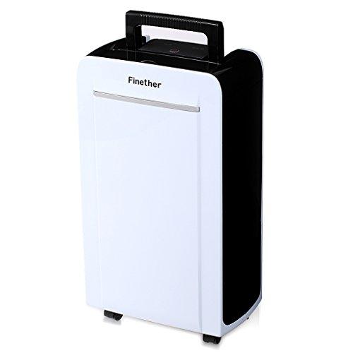 Finether 12L / D Déshumidificateur d'Air Intelligent de Contrôle Numérique Silencieux Compact Faible Consommation Drainage Continu Humidité Maison