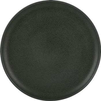 "(C31660) Set of 2 Carbon (31 cm / 12 1/4"") Pizza Plates- Cast-iron like, matt glazed tableware"