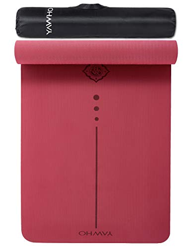 Yogamatten Fitnessmatten Maße: 183 cm X 66 cm Höhe 0.6 cm,hochwertige TPE ist Rutschfest ECO Freundlichen Material Das SGS Zertifiziert Design Hilfslinien, licht, umweltfreundlich, langlebig (Red)