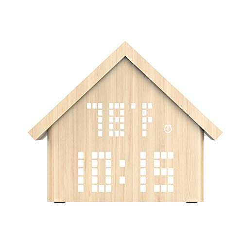 KIOio Reloj Despertador Activado por Voz de Madera, Reloj de Escritorio Digital LED Que Muestra la Hora, Fecha y Hora Forma de Cabina, Color de Madera (Color : White Maple)
