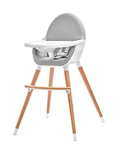 Kinderkraft FINI Chaise Haute Bébé, 2 en 1, Évolutive, Réglable, Lavable, Gris