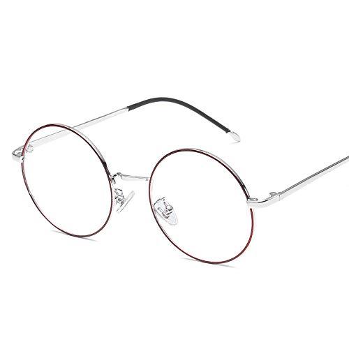 Gläser Retro Plain Brillen Trend Brillengestell Metall Runde Klassische Mode Brillengestell (Color : 03Sliver, Size : Kostenlos)