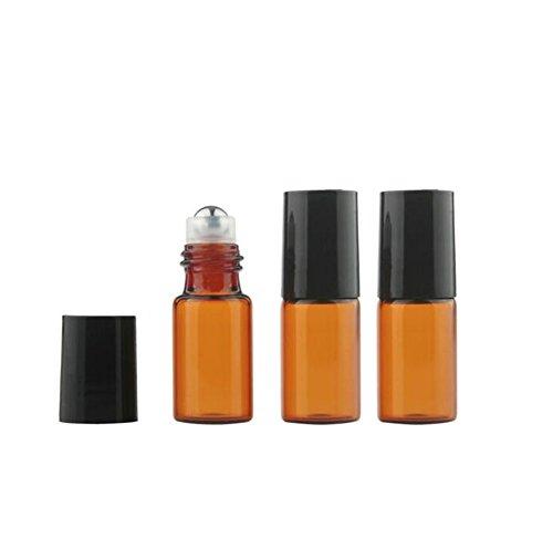 3 ml d'huile essentielle de taille Mini 10 pcs Verre Ambre Roller Ball Bouteille rechargeable vide Parfum aromathérapie Baume à lèvres Roll On bouteilles en verre fioles en métal avec Roller Ball et capuchon