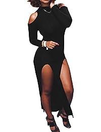 WOZNLOYE Damen Sommer Lange Kleid High Neck Off Shoulder Langarm Bodycon  Maxikleider mit Zipper Etui Kleider 7423cebe84