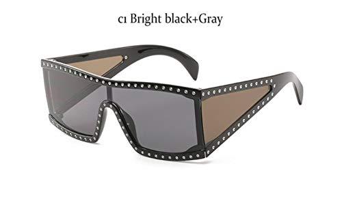 Cranky Orange Übergroße Markenmode Schwarze Sonnenbrille Männer Fahren Coole Sonnenbrillen Quadratische männliche Flat-Top-Brillen mit Spiegelantrieb, C1 Bright Black Grey