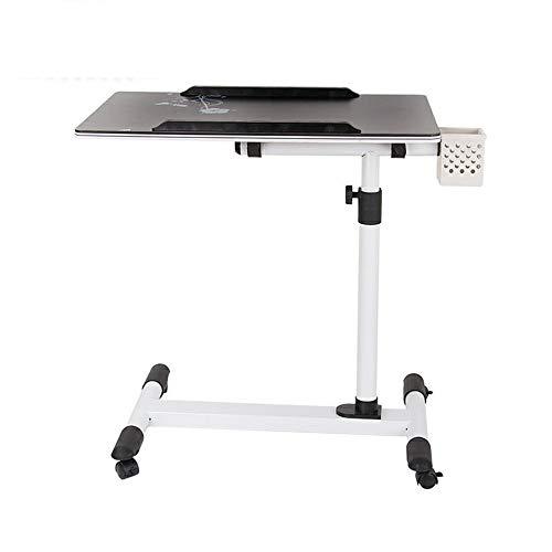 Zhedan tavolo per laptop regolabile in altezza e regolabile tavolo per notebook pieghevole tavolo pieghevole per tavolo da letto tavolo per ospedale, ruote orientabili con serratura per notebook pc