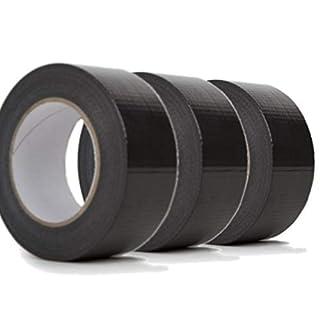 ASC 3pk Black Duct Tape - Quality Large Roll - Automotive Grade - 48mm x 50m 3 Rolls