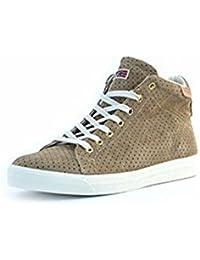 Scarpe sneakers Napapijri da uomo beige in camoscio traforato, foderate internamente in tessuto, logo sul tallone, lacci beige e suola in gomma.