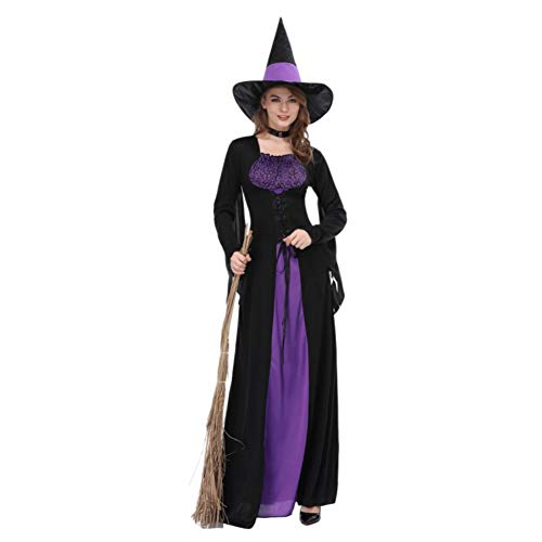Frauen Halloween Kostüm, Hexe Langen Rock Kostüm Outfit Scary Evil Halloween Horror Uniform für Halloween Party Cosplay Bühne