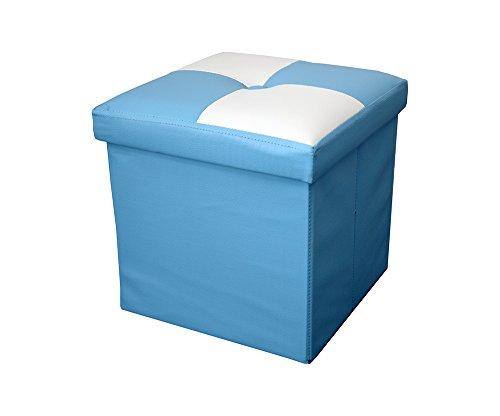 Rebecca Srl Pouf Puff Pouff Puf Contenitore Baule Poggiapiedi Quadrato Bianco Azzurro Moderno Soggiorno Camera Living (cod. 6078 2 2)