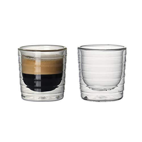 LIOHPK Menge von 2 isolierten und hitzebeständigen doppelwandigen Kaffeetassen von 150 ml fixiert für Getränke Espresso-basierte Latte Tasse Kaffee 100 ml, transparent (Tassen Transparent Espresso)
