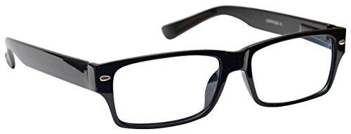 UV Reader Schwarz Kurzsichtigkeit Entfernung Brille Wayfarer Stil Herren Frauen Mit Etui UVMR006 Dioptrien -2,00