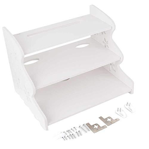 Boquite TV-Set Top-Box-Rack, Wohnzimmer Lagerung an der Wand Nagel frei DREI Schicht -