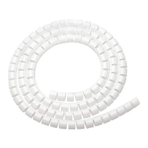 XFentech 10m Flexibler Kabelkanal - Universal Einstellbare Kabelschlauch Spiralband Spiralschlauch mit Einfädelhilfe Bündeln von Kabeln, Weiß, 28mm