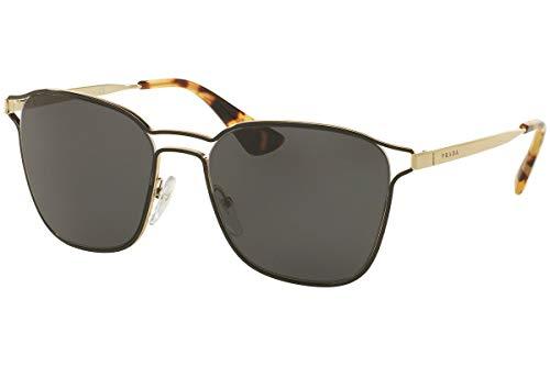 Prada Frau PR54TS Sonnenbrille w/Grau 55mm Objektiv 1AB5S0 SPR54T PR 54TS SPR 54T Schwarz Bleichgold groß