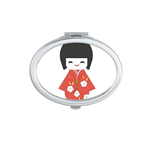 DIYthinker Espejo de Bolsillo japonés Tradicional Local de la niña Juguete Oval Maquillaje Compacto...
